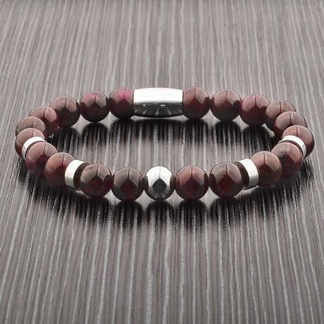 Amethyst Stone + Stainless Steel Beaded Bracelet // Purple + Silver
