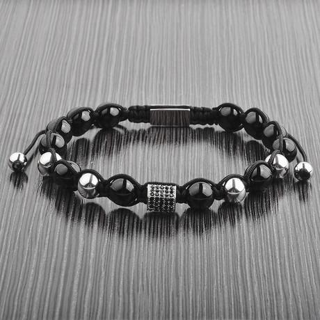 Onyx + Stainless Steel Beaded Macrame Bracelet // Black + Silver