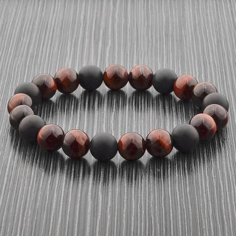 Matte Onyx + Natural Stone Beaded Bracelet (Red Tiger's Eye)
