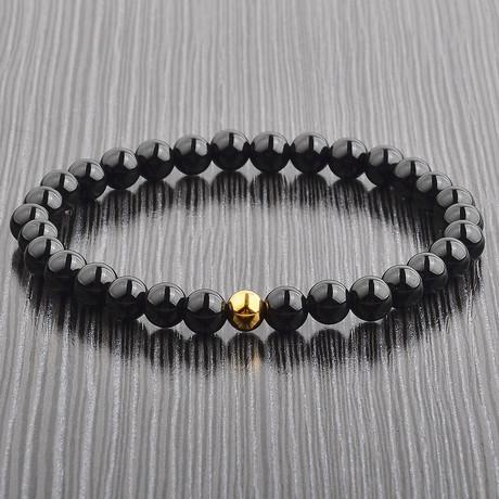 Natural Stone + Stainless Steel Beaded Bracelet (Onyx)