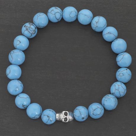 Stainless Steel Skull Beaded Bracelet // Blue + Silver