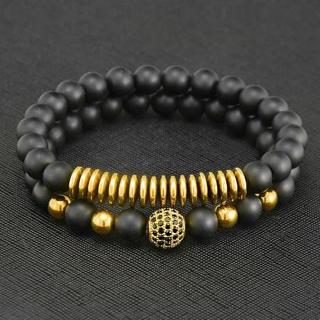 Matte Agate + Hematite Beaded Bracelet (Gold)