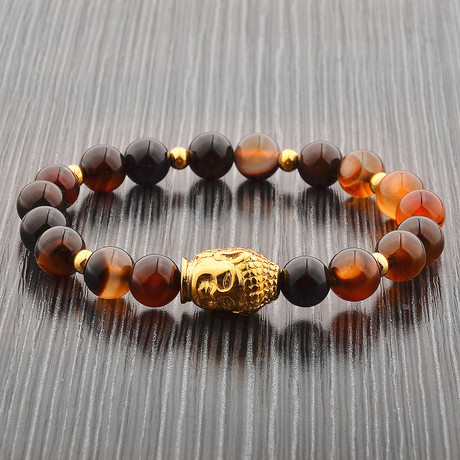 Gold Plated Stainless Steel Buddha Bead Stretch Bracelet (Agate)