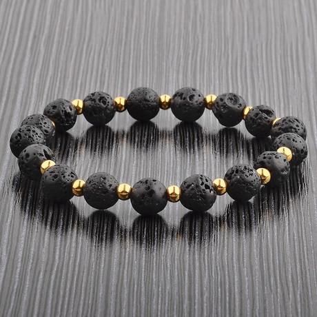Lava Stone + Stainless Steel Beaded Bracelet // Black + Gold
