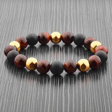 Red Tiger's Eye + Matte Onyx + Stainless Steel Beaded Bracelet // Red + Black + Gold