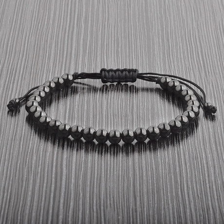 Polished Beaded Adjustable Bracelet // Black