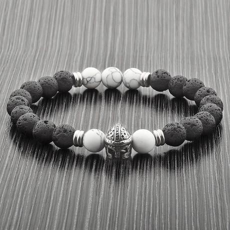 Lava + Howlite Stone Spartan Helmet Beaded Stretch Bracelet // Black + Silver + White