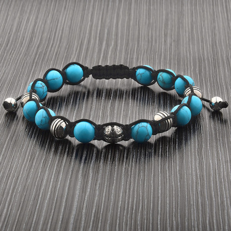 Turquoise Stone + Stainless Steel Beaded Adjustable Bracelet // Blue + Silver