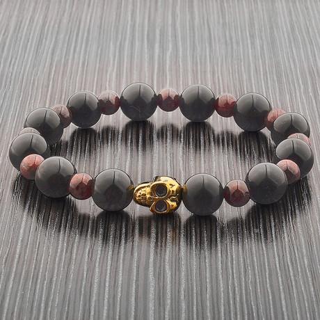 Obsidian + Garnet Stone + Gold Plated Skull Beaded Bracelet // Black + Gold + Purple