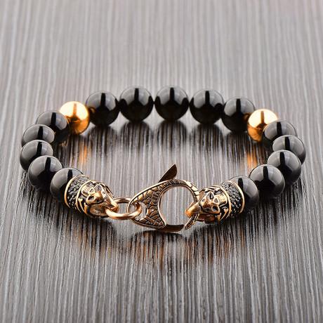 Gold Plated Stainless Steel + Onyx Beaded Bracelet // Black + Gold (Gold)