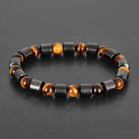 Gunmetal Plated Hematite + Tiger's Eye Stone Bracelet (Onyx)