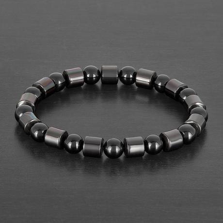 Gunmetal Plated Hematite Beaded Bracelet (Onyx)