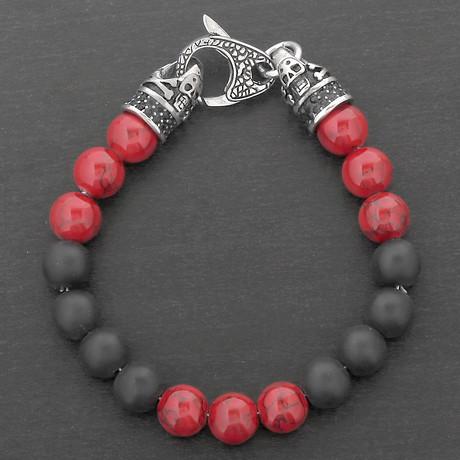 Stainless Steel Skull Beaded Bracelet // Black + Red + Silver