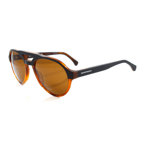 Emporio Armani // Men's EA4128 Sunglasses // Matte Black + Tortoise Yellow