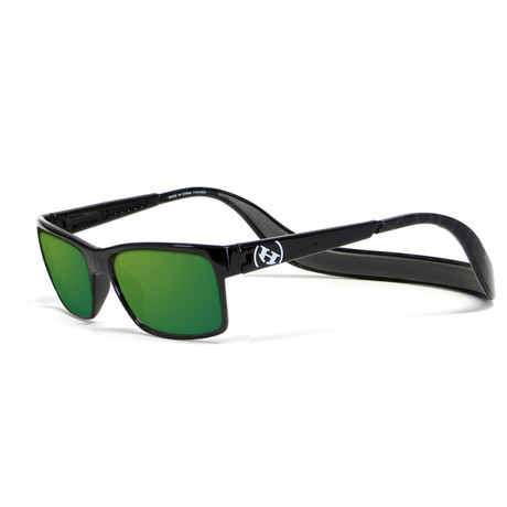 Unisex Monix Polarized Sunglasses // Black Tortoise + Green Chrome