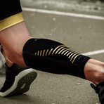 Compression Calf Sleeve // Pack of 2 // Black + Gold (Small)