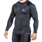 Compression Long Sleeve T-Shirt // Black + Gold (Small)