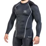 Compression Long Sleeve T-Shirt // Black + Silver (Medium)