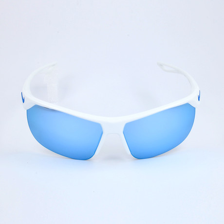 Kid's Trainer EV1064 Sunglasses // White + Gray + Light Blue Mirror