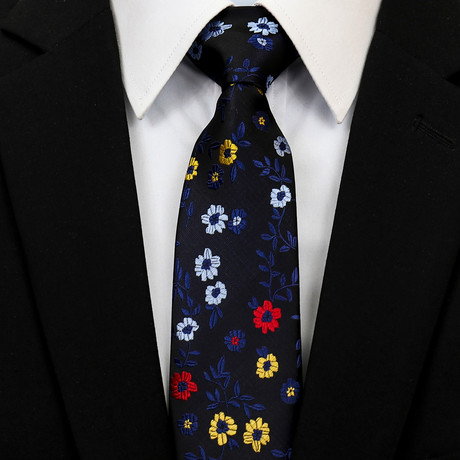 Silk Neck Tie + Gift Box // Dark Blue Floral