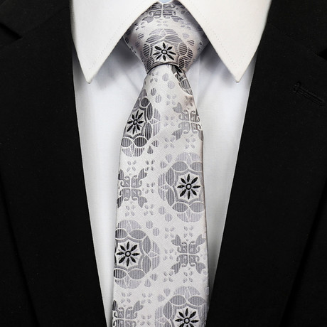 Silk Neck Tie + Gift Box // Gray + Silver