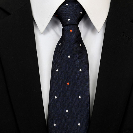 Silk Neck Tie + Gift Box // Navy + Multicolor Dots