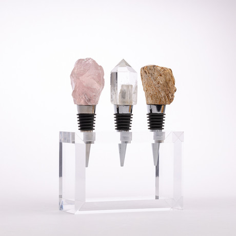 Set of 3 Mineral Wine Stoppers + Acrylic Base // Rose Quartz