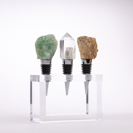 Set of 3 Mineral Wine Stoppers + Acrylic Base // Fluorite