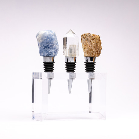 Set of 3 Mineral Wine Stoppers + Acrylic Base // Lazulite