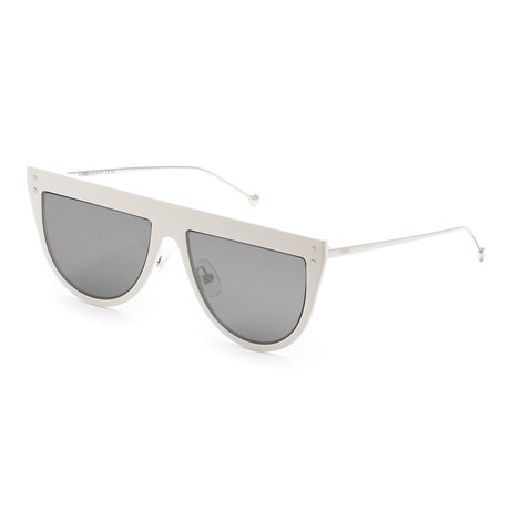Women's 0372 Sunglasses // White + Silver