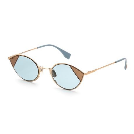 Unisex Cat-Eye Sunglasses // Rose Gold + Blue