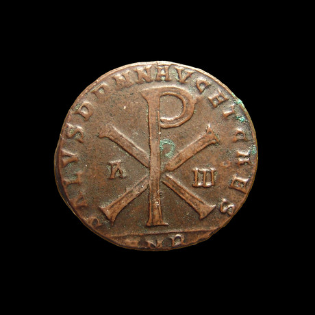 Roman Coin with Chi-Rho Symbol // 350-353 AD
