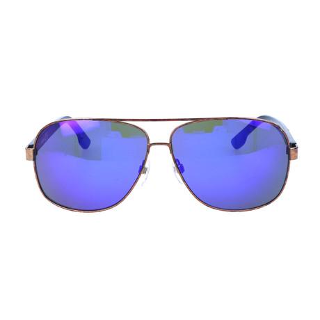 Men's DL0125 Sunglasses // Bronze Blue Mirror