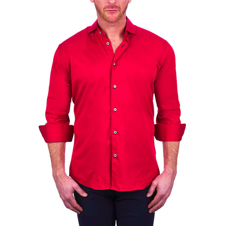 Einstein Soft Butter Dress Shirt // Red (S)