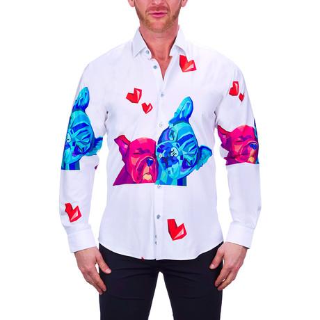 Fibonacci Dog Love Dress Shirt // White (S)