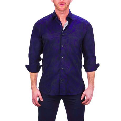 Fibonacci Leaves Dress Shirt // Blue (S)