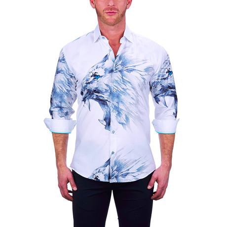 Fibonacci Lion Fierce Dress Shirt // White (S)