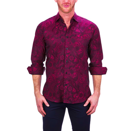 Fibonacci Paisley Dress Shirt // Red (S)