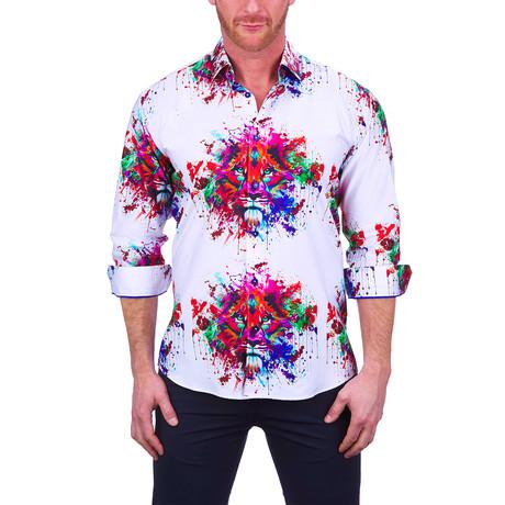 Fibonacci Splash Lion Dress Shirt // White (S)