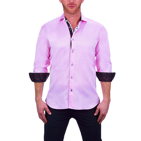 Einstein Small Diamond Dress Shirt // Pink (S)