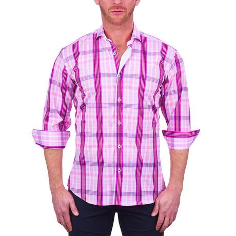 Einstein Plaid Dress Shirt // Pink (S)