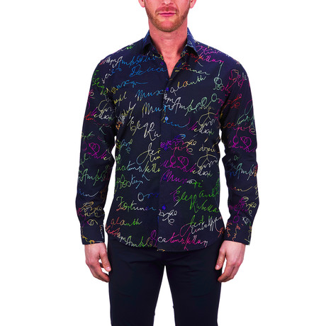 Fibonacci Rainbow Scribble Dress Shirt // Black (S)