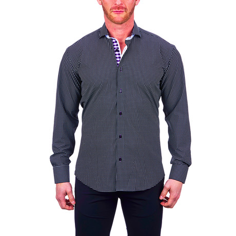 Einstein Micro Check Dress Shirt // Black (S)