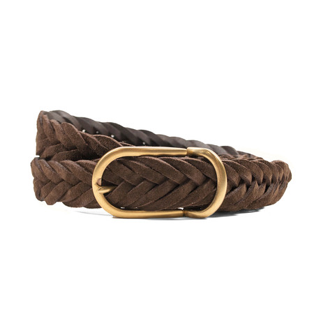 Suede Braided Belt // Brown