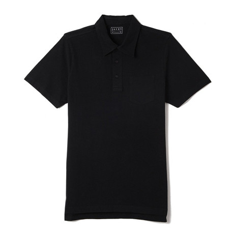 Sueded Cotton Polo // Jet Black (S)