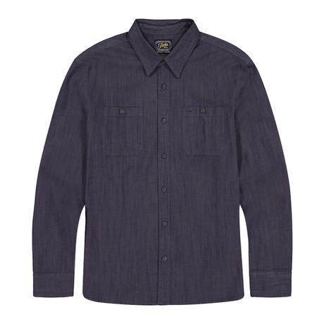 Stretch Chambray Ls Shirt // Navy (S)