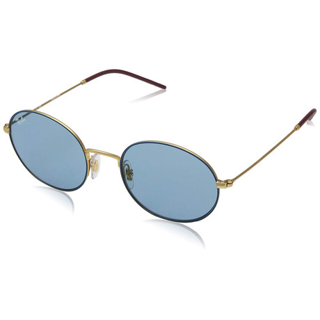 Ray Ban RB3594-9113F7-53 Beat Oval Sunglasses // Blue Gold + Light Blue