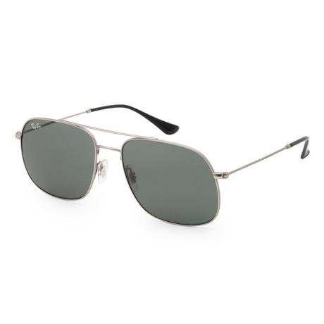 Unisex RB3595-91167159 Sunglasses // Silver + Dark Green