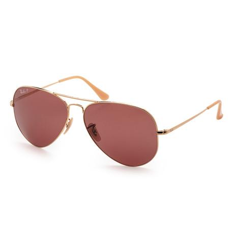 Unisex RB3689-9064AF62 Polarized Sunglasses // Gold + Purple