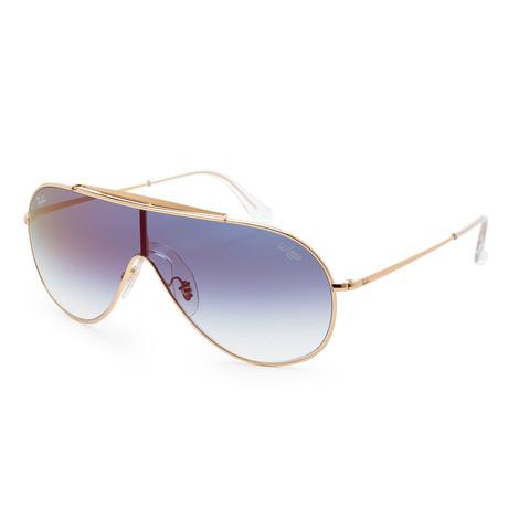 Men's RB3597-001-X033 Sunglasses // Gold + Clear Gradient + Blue Mirror